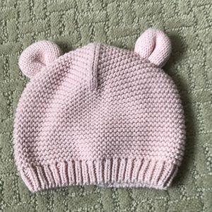Carter's teddy bear pink knit hat 3-9 months